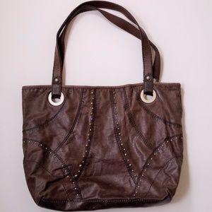 Fossil Brown Leather Tote Bag Purse Large Studded
